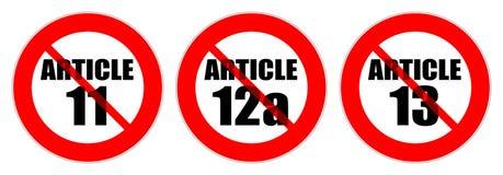 Sinais de tráfego vermelhos impedir o artigo 11, 12a e 13 ilustração royalty free