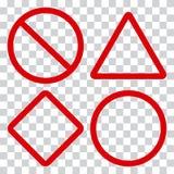 Sinais de tráfego vermelhos no fundo transparente Vetor ilustração stock