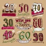 Sinais do aniversário ajustados Imagem de Stock Royalty Free