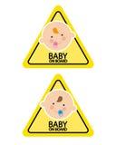 Sinais do bebê a bordo Fotos de Stock