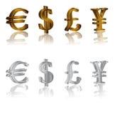 Sinais do dólar, do euro, dos ienes e da libra Fotografia de Stock