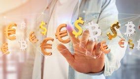 Sinais do dólar, do Euro e do Bitcoin que voam em torno de um connectio da rede Foto de Stock Royalty Free