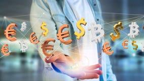 Sinais do dólar, do Euro e do Bitcoin que voam em torno de um connectio da rede Fotos de Stock