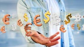 Sinais do dólar, do Euro e do Bitcoin que voam em torno de um connectio da rede Fotografia de Stock Royalty Free
