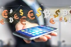 Sinais do dólar, do Euro e do Bitcoin que voam em torno de um connectio da rede Imagem de Stock Royalty Free