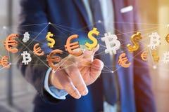 Sinais do dólar, do Euro e do Bitcoin que voam em torno de um connectio da rede Imagens de Stock Royalty Free