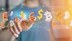 Sinais do dólar, do Euro e do Bitcoin que voam em torno de um connectio da rede Fotografia de Stock
