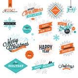 Sinais do estilo do vintage do Natal e de ano novo ilustração do vetor