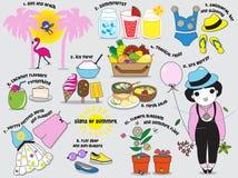 Sinais do grupo da ilustração do verão Imagem de Stock