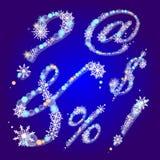 Sinais do inverno com flocos de neve Imagens de Stock Royalty Free