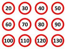 Sinais do limite de velocidade Foto de Stock