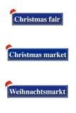 Sinais do mercado do Natal foto de stock