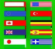 sinais do Multi-uso com bandeiras, beiras Foto de Stock Royalty Free