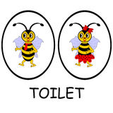 Sinais do toalete do homem e da mulher. Abelhas engraçadas dos desenhos animados Fotos de Stock