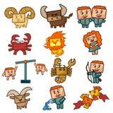 Sinais do zodíaco dos desenhos animados Foto de Stock