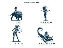 Sinais do zodíaco Ilustração do vetor ilustração stock