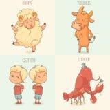 Sinais do zodíaco, personagens de banda desenhada bonitos Imagens de Stock
