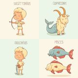 Sinais do zodíaco, personagens de banda desenhada bonitos Fotos de Stock Royalty Free