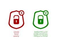 Sinais dos ícones da gestão da senha do vetor, os fracos e os fortes das senhas, os verdes e os vermelhos ilustração do vetor
