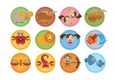 Sinais dos desenhos animados do zodíaco Foto de Stock