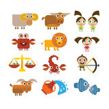Sinais dos desenhos animados do zodíaco Imagens de Stock