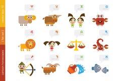 Sinais dos desenhos animados do zodíaco Imagem de Stock Royalty Free