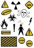 Sinais dos perigos ilustração do vetor