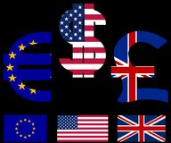 Sinais e bandeiras de moeda Fotografia de Stock
