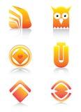 Sinais e jogo de símbolos lustrosos alaranjados Fotos de Stock