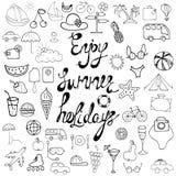 Sinais e símbolos das férias de verão Fotografia de Stock