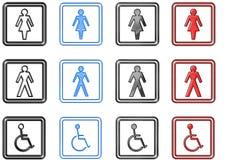 Sinais e símbolos de Toilette (grandes) Imagens de Stock Royalty Free