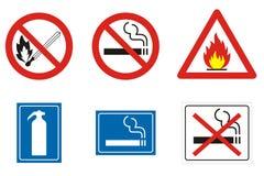Sinais e símbolos do incêndio ilustração do vetor