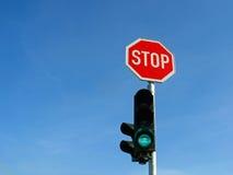 Sinais e sinal do batente Imagens de Stock