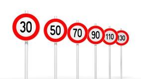 Sinais europeus da velocidade da estrada ilustração royalty free