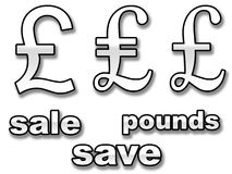 Sinais ingleses da venda de libra Foto de Stock Royalty Free