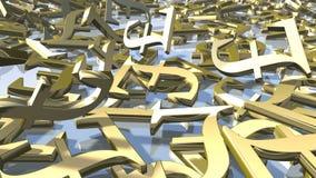 Sinais ingleses do dinheiro da libra do ouro brilhante rendição 3d Imagem de Stock Royalty Free