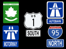 Sinais internacionais da estrada ilustração stock