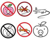 Sinais livres do GMO do vetor ajustados (CMYK) Ilustração Royalty Free