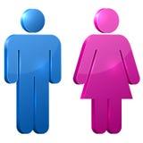 Sinais masculinos e fêmeas da porta 3D ilustração do vetor