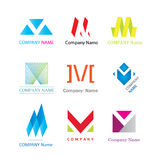 Sinais modernos da empresa do logotype da letra M Fotografia de Stock