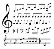 Sinais musicais. Notas Foto de Stock