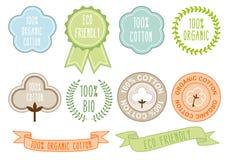 Sinais orgânicos do algodão, grupo do vetor Imagem de Stock