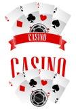 Sinais ou emblemas do casino Fotografia de Stock