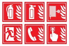 Sinais para a proteção contra incêndios Imagens de Stock