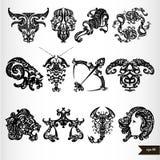Sinais pretos do horóscopo do zodíaco Imagens de Stock Royalty Free