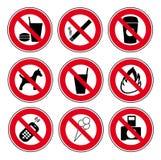 Sinais proibidos ajustados ícone Imagens de Stock
