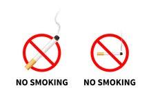 Sinais proibidos não fumadores com realístico Fotografia de Stock Royalty Free