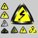 Sinais que advertem sobre uma eletricidade Imagens de Stock Royalty Free