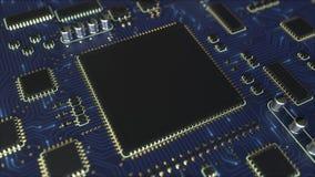 Sinais que movem-se através do PWB da placa de circuito impresso do azul Animação conceptual relacionada da eletrônica ilustração do vetor