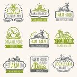 Sinais retros do mercado da exploração agrícola As etiquetas frescas do vetor do alimento biológico do vintage com colheita coloc ilustração do vetor